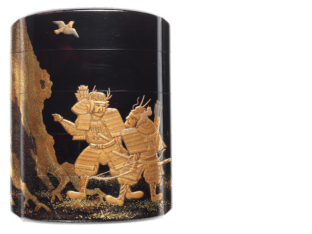 A black lacquer four-case inro By the Inagawa Family, 19th century