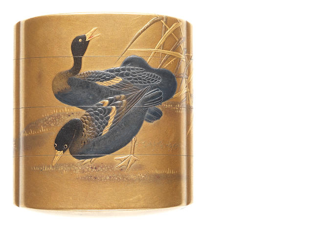 A gold lacquer three-case small inro By Kanshosai Toyo, 19th century