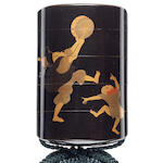 A black lacquer four-case inro  By Shiomi Masanari, late 18th/early 19th century