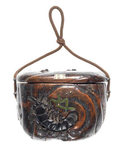 A wood tonkotsu (tobacco box) By Jikan Ganbun, 19th century