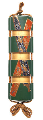 A rare green lacquer three-case inro By Yamada Jokasai, 19th century