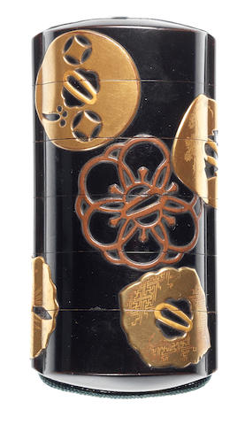 A black lacquer five-case inro By the Kajikawa Family, late 18th/early 19th century