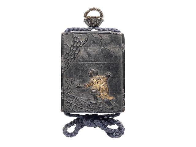 A fine black lacquer four-case inro By Shibata Zeshin (1807-1891), Meiji Period