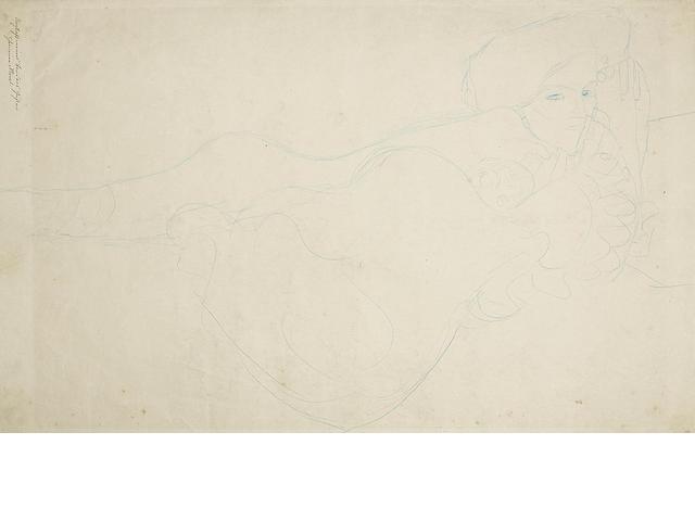 Gustav Klimt (Austrian, 1862-1918) Liegender Frauenakt mit schlafendem Kind im Steckkissen