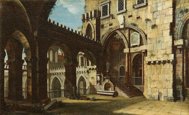 Italian School, 19th Century A study for a courtyard scene unframed