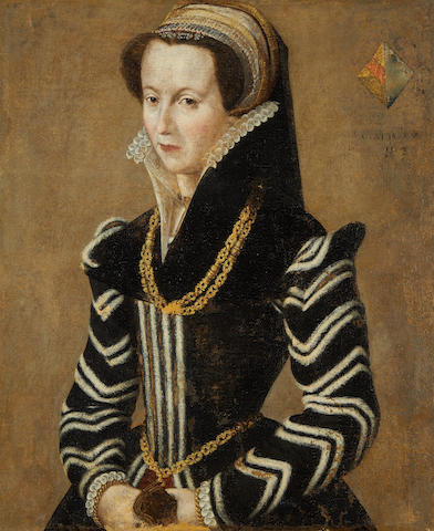 French School, 16th Century Portrait of a lady, half-length, in