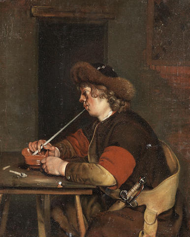 After Gerard Ter Borch II, circa 1700 A peasant smoking unframed