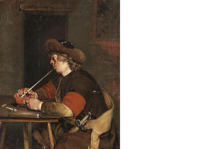 After Gerard Ter Borch II, circa 1700 A peasant smoking