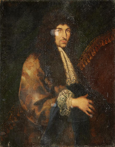 French School, 17th Century Portrait of a gentleman, half-length, in a embroidered robe, before a curtain unframed