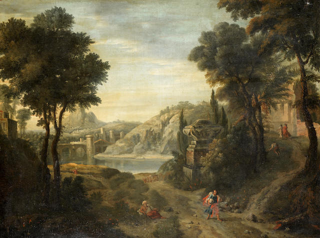 Pieter Andreas Rysbrack (Paris 1690-1748 London) Travellers in a classical landscape
