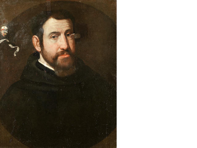 Roman School, early 17th Century Portrait of a man, half-length, in a black coat, within a painted oval unframed