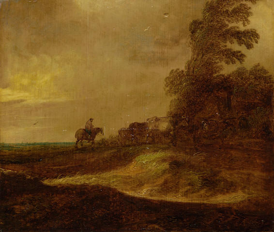 Follower of Jan Josefsz. van Goyen (Leiden 1596-1656 The Hague) A shepherd driving cattle in a landscape unframed