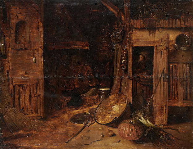 Follower of Willem Kalf (Dutch, 1619-1693) A barn interior with pumpkins and other vegetables, next to a copper bowl  unframed