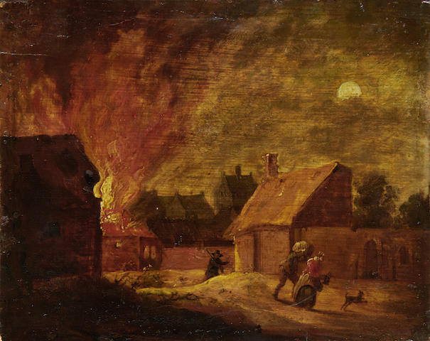 Circle of Ferdinand van Apshoven (Flemish, 1630-1694) Fire in the village