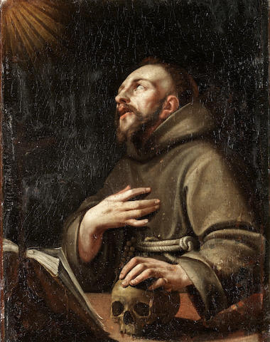 French School, 17th Century Saint Francis in Ecstacy unframed