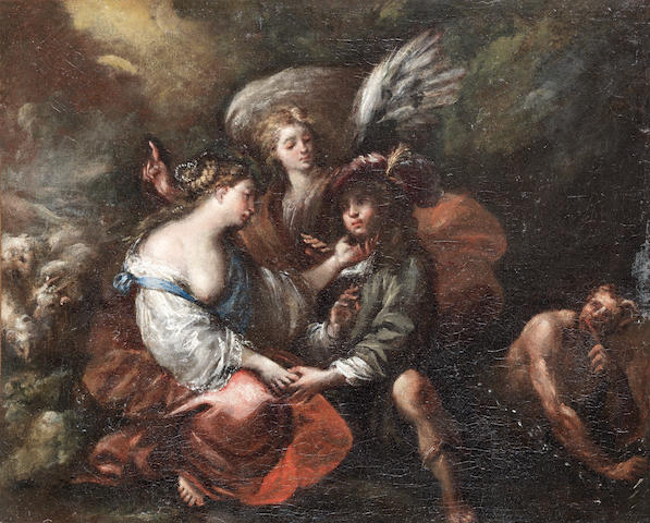 Attributed to Giovanni Battista Merano (Genoa 1632-1698) Hagar and the Angel unframed