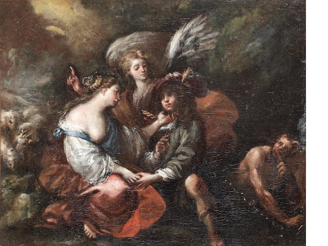 Attributed to Giovanni Battista Merano (Genoa 1632-1698) Hagar and the Angel