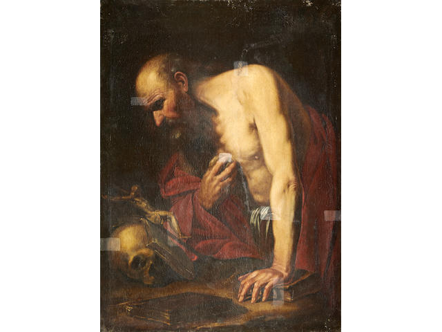 Follower of Michelangelo Merisi da Caravaggio (Caravaggio 1573-1610 Porto Ercole) Saint Jerome penitent unframed