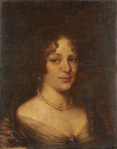 Circle of John Michael Wright (London 1617-1694) Portrait of a lady, bust-length, in a silk dress and pearl necklace unframed