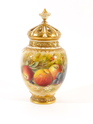 A Royal Worcester painted fruit vase and covers by William Ricketts, dated 1926