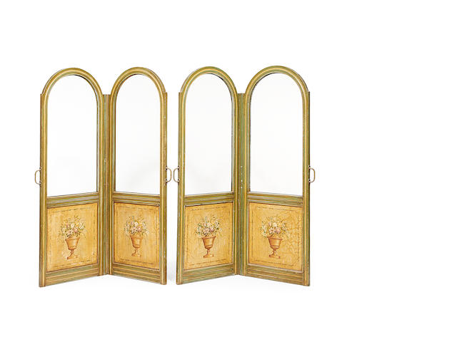 A pair of Italian late 19th/early 20th century polychrome painted two-panel screens
