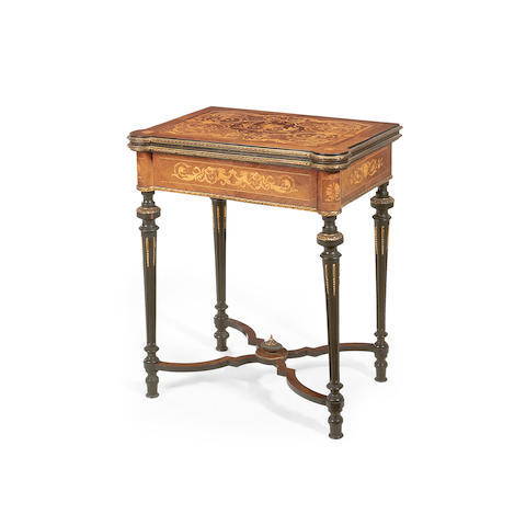 A Victorian rosewood, marquetry and gilt metal mounted card table in the Louis XVI style