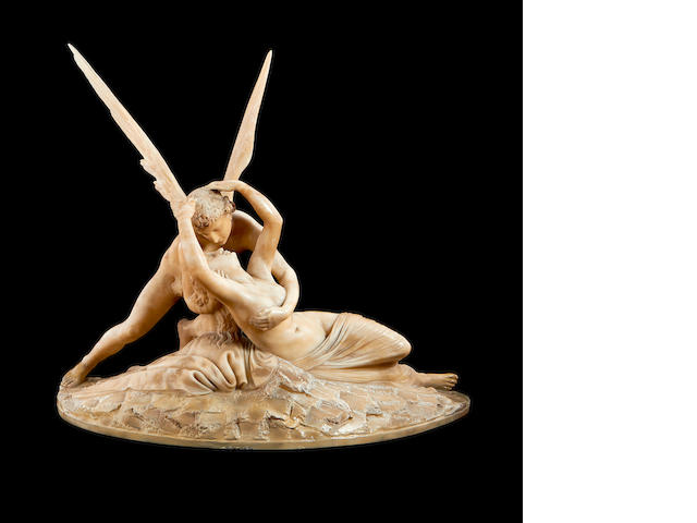 After Antonio Canova - an alabaster group of cupid and Psyche