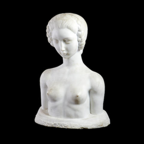 An early 20th century marble bust of a nude girlsigned Christiaens M 42