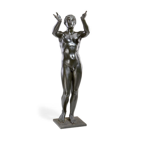 After the Antique: A large late 19th / early 20th century bronze figure of an athletecast by the Sommer Foundry, Naples