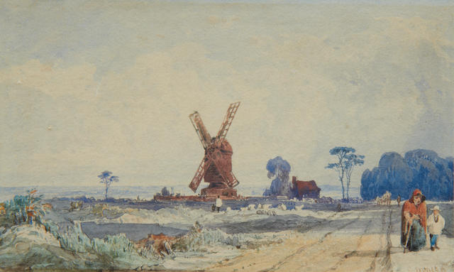 Edward Duncan, R.W.S. (British, 1803-1882) Landscape with windmill