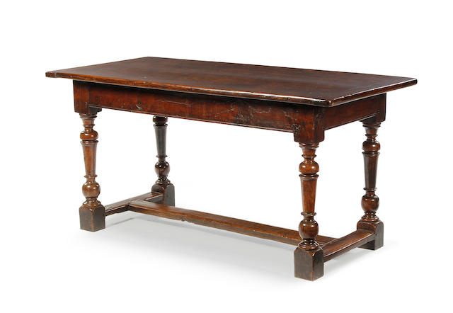 A late 17th century and later oak refrectory-type table