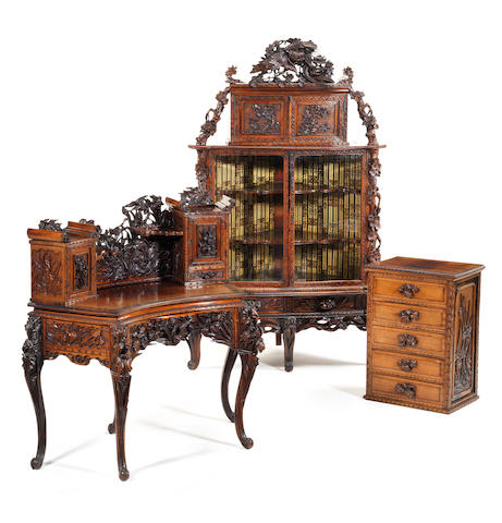 A suite of carved hardwood furniture Late Meiji Period