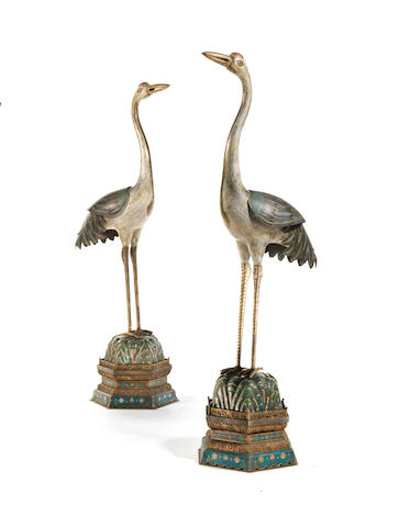 A magnificent and large Imperial pair of cloisonné enamel cranes, 18th/19th century