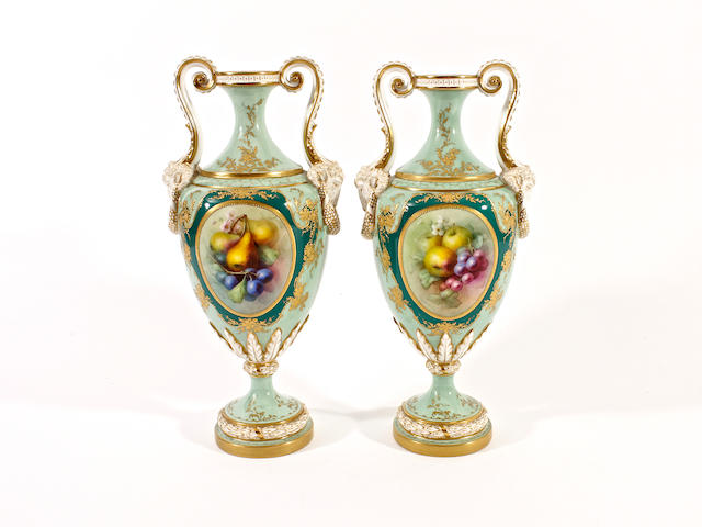 A pair of Royal Worcester vases by Fred Chivers, dated 1901