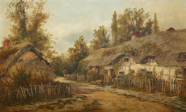 William Dommersen (Dutch, 1850-1927) The old cottages at Steventon, Berkshire
