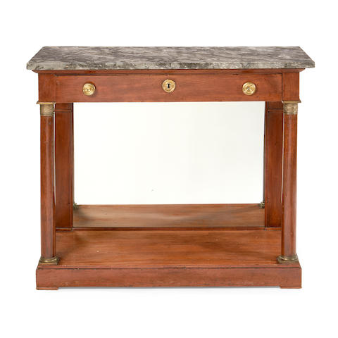 An Empire mahogany and brass mounted console table