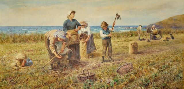 Thomas James Lloyd, RWS (British, 1849-1910) The potato harvest