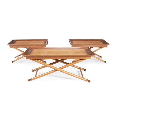 A pair of contemporary Nicky Haslam beech and teak occasional/coffee tables together with a larger coffee table of similar design