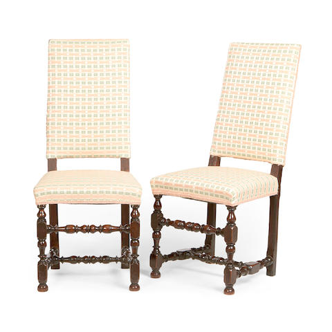 A pair of French late 17th century walnut side chairs