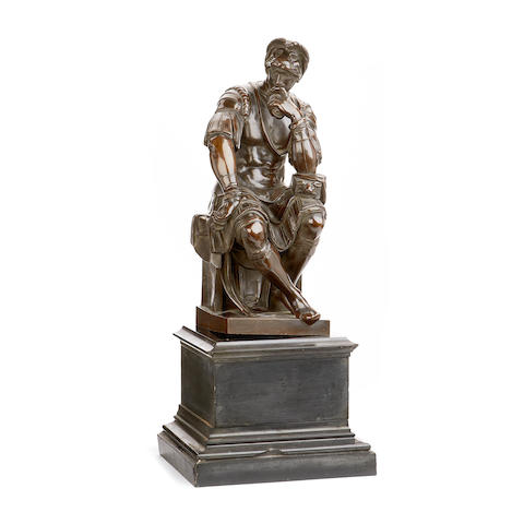 After Michelangelo (Italian, 1475-1564): A third quarter of the 19th century French bronze figure of Lorenzo Duke of Urbino