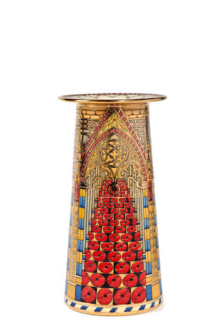 Sally Tuffin for Dennis Chinaworks 'Westminster Abbey' a Gold Lustred Conical Vase, 2012