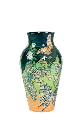 Sally Tuffin for Dennis Chinaworks 'Butterflies' a Lustred Trial Vase, 2012