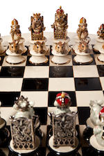 Sally Tuffin for Dennis Chinaworks 'The Chinaworks Chess Set' a Unique Lustre Version, 2012