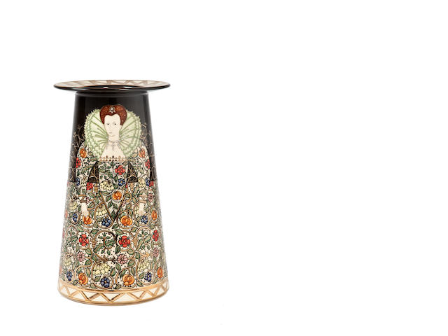 Sally Tuffin for Dennis Chinaworks 'Queen Elizabeth I' a Gold Lustred Conical Vase, 2012