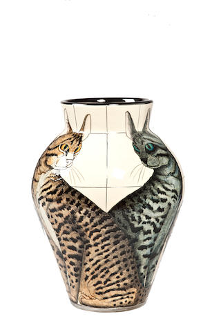 Sally Tuffin for Dennis Chinaworks 'Sitting Cats' a Lustred Vase, 2012