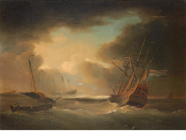Follower of Peter Monamy (London 1681-1749) Ships in a stormy sea