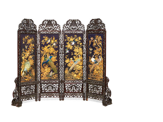 A Chinese late 19th century carved rosewood and silk embroidered four panel screen