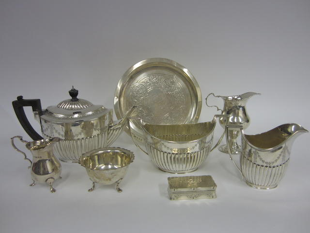 A Victorian silver three-piece tea service London 1888