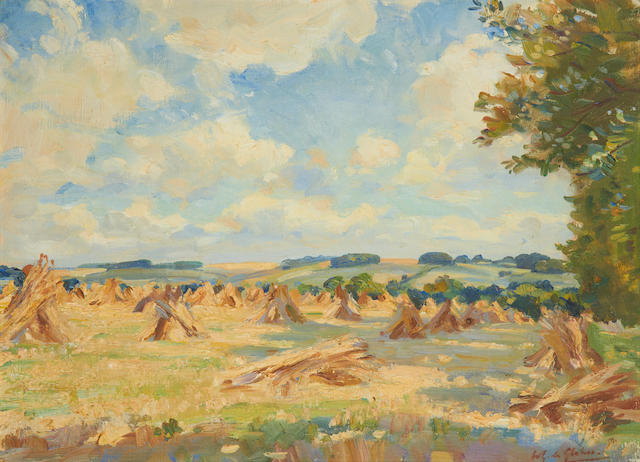 Wilfred Gabriel de Glehn (British, 1870-1951) Field of haystacks on a sunny afternoon