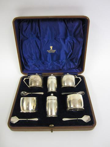 A silver six piece condiment set  Various dates and markers makes
